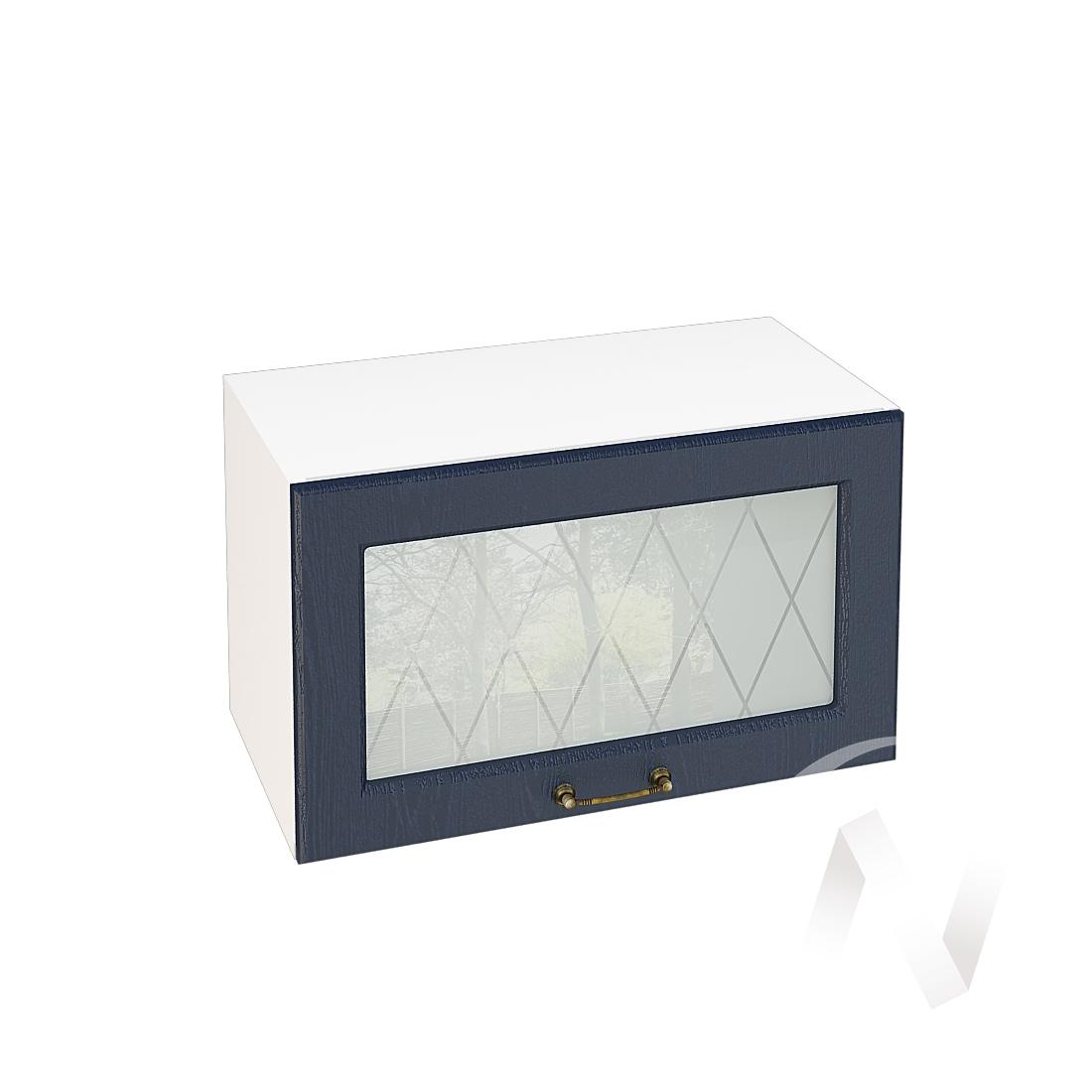 """Кухня """"Ницца"""": Шкаф верхний горизонтальный со стеклом 600, ШВГС 600 (Дуб чернильный/корпус белый)"""