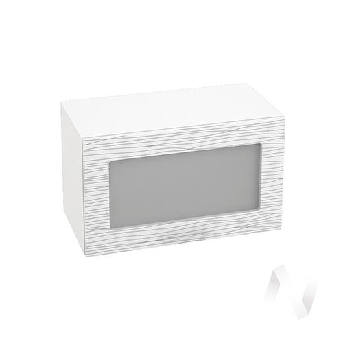 """Кухня """"Валерия-М"""": Шкаф верхний горизонтальный со стеклом 600, ШВГС 600 (Страйп белый/корпус белый)"""