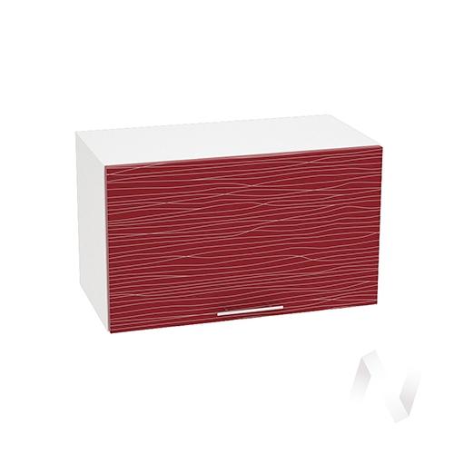 """Кухня """"Валерия-М"""": Шкаф верхний горизонтальный 600, ШВГ 600 (Страйп красный/корпус белый)"""
