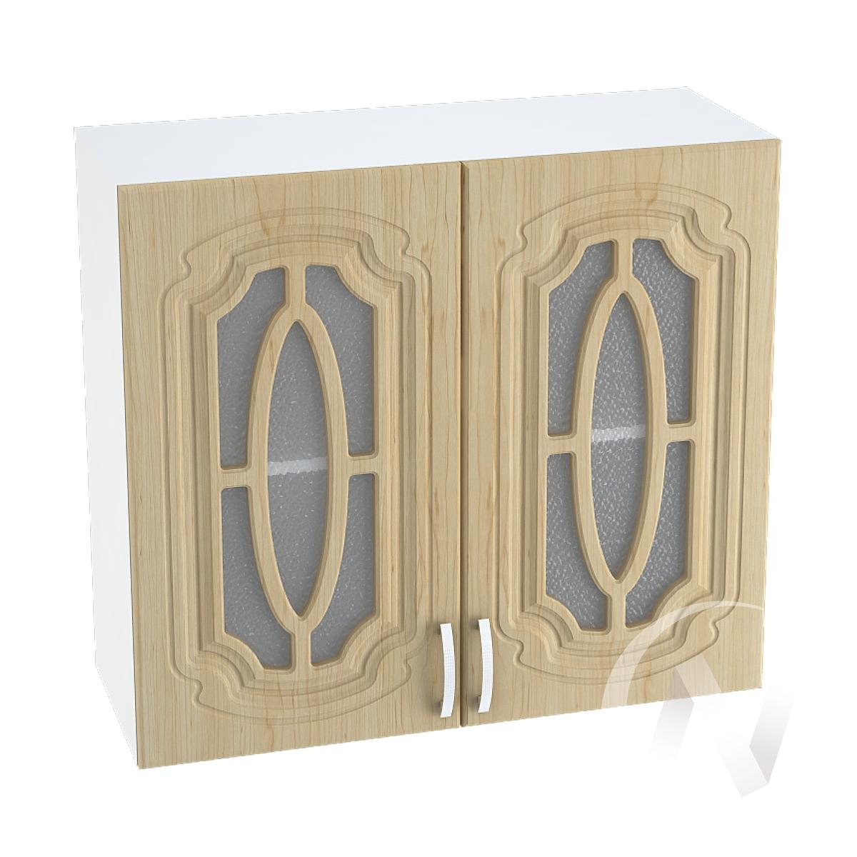 """Кухня """"Настя"""": Шкаф верхний со стеклом 800, ШВС 800 новый (Береза/корпус белый)"""
