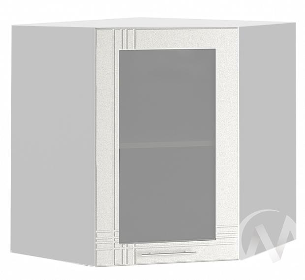 "Кухня ""Струна"": Шкаф верхний угловой со стеклом 590, ШВУС 590 (белый металлик/корпус белый)"