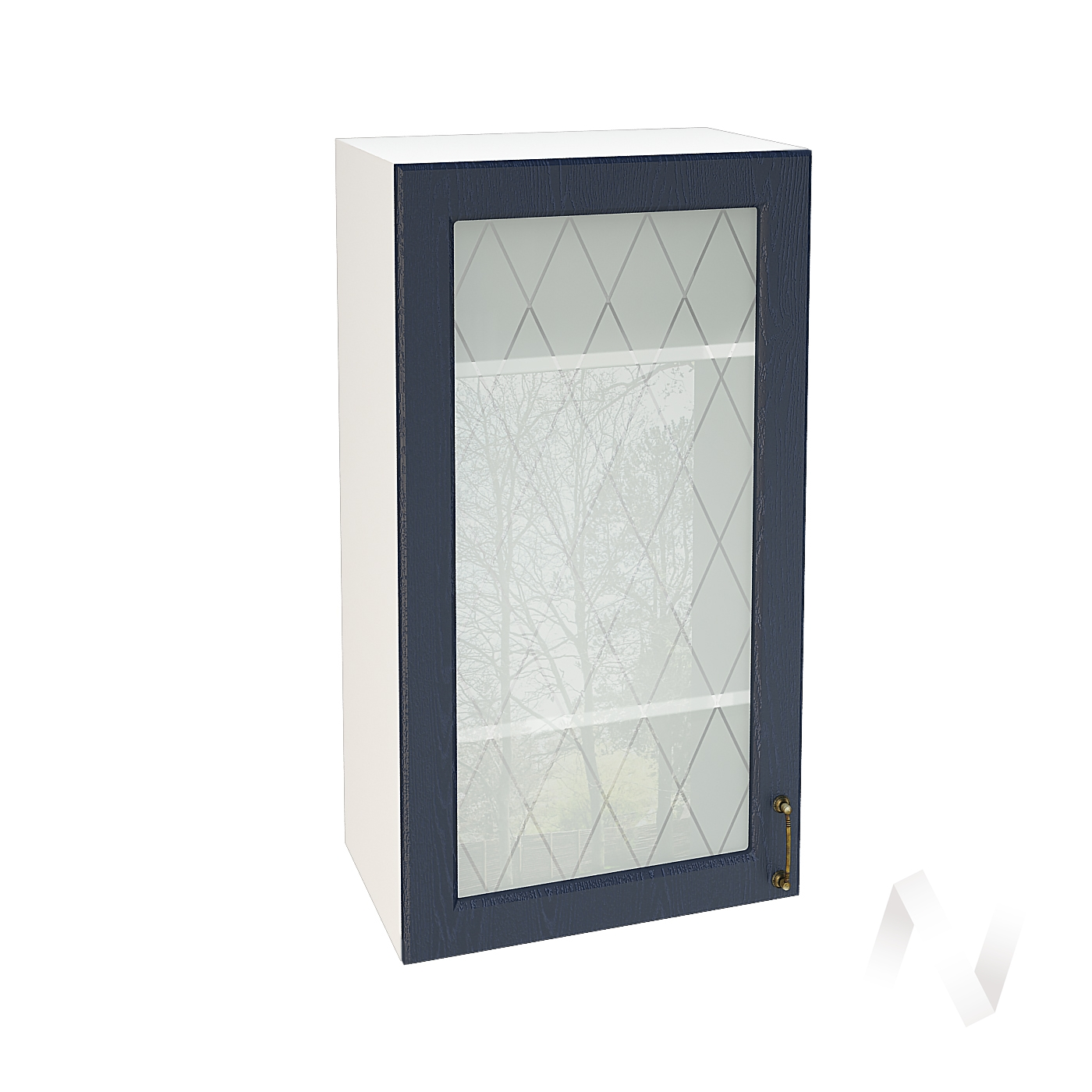 """Кухня """"Ницца"""": Шкаф верхний со стеклом 509, ШВС 509 (Дуб чернильный/корпус белый)"""