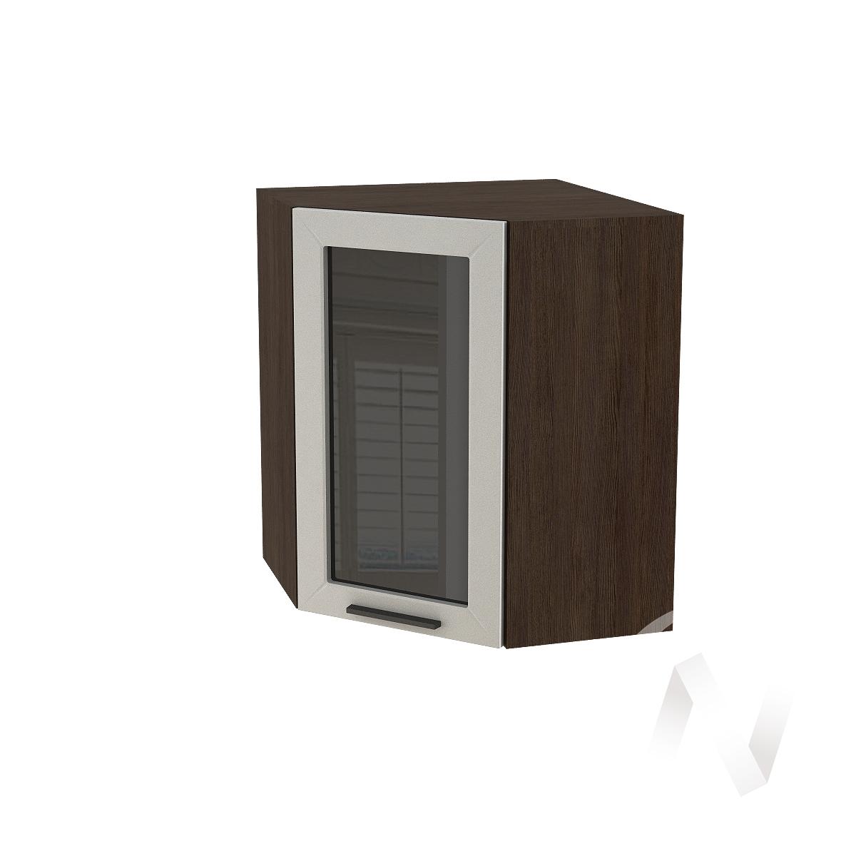 """Кухня """"Глетчер"""": Шкаф верхний угловой со стеклом 590, ШВУС 590 (Гейнсборо силк/корпус венге)"""