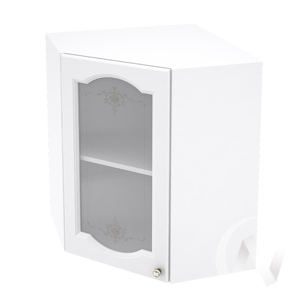 """Кухня """"Шарлиз"""": Шкаф верхний угловой со стеклом 590, ШВУС 590 (корпус белый)"""