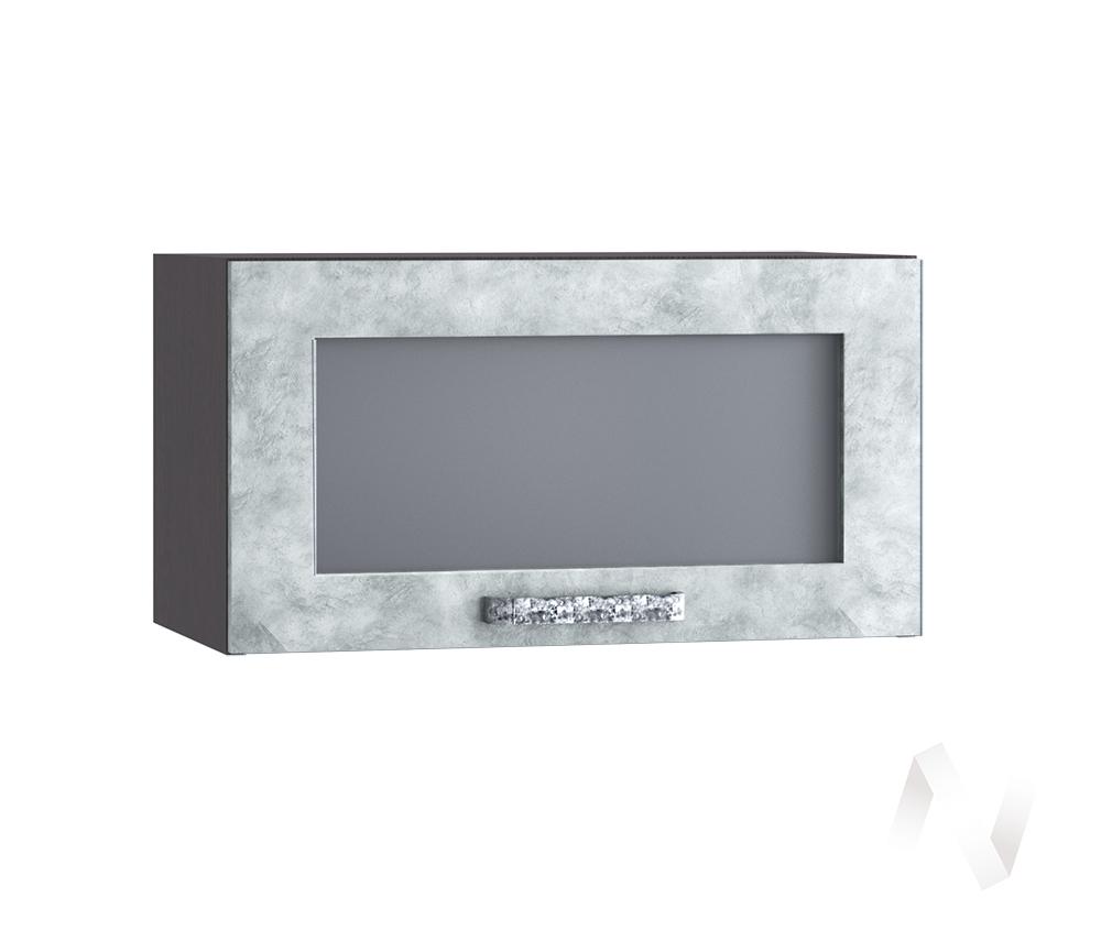 """Кухня """"Лофт"""": Шкаф верхний горизонтальный со стеклом 600, ШВГС 600 (Бетон серый/корпус венге)"""