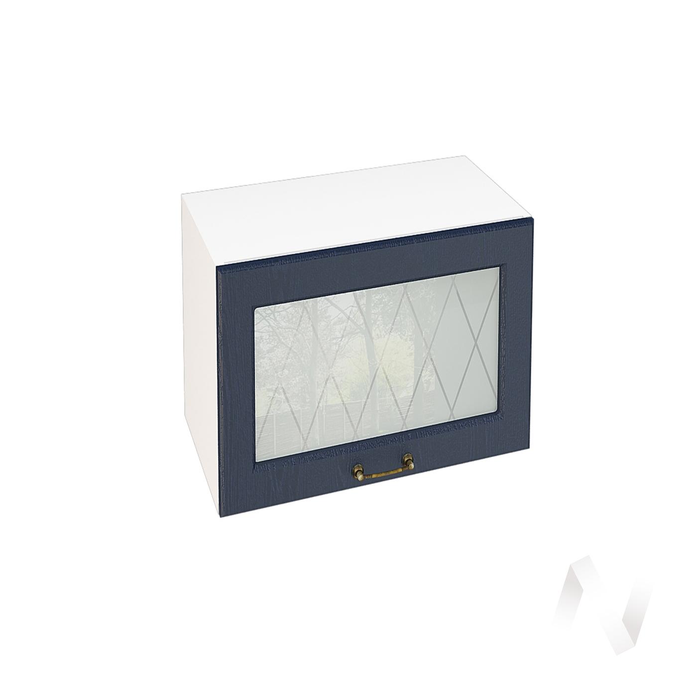 """Кухня """"Ницца"""": Шкаф верхний горизонтальный со стеклом 609, ШВГС 609 (Дуб чернильный/корпус белый)"""