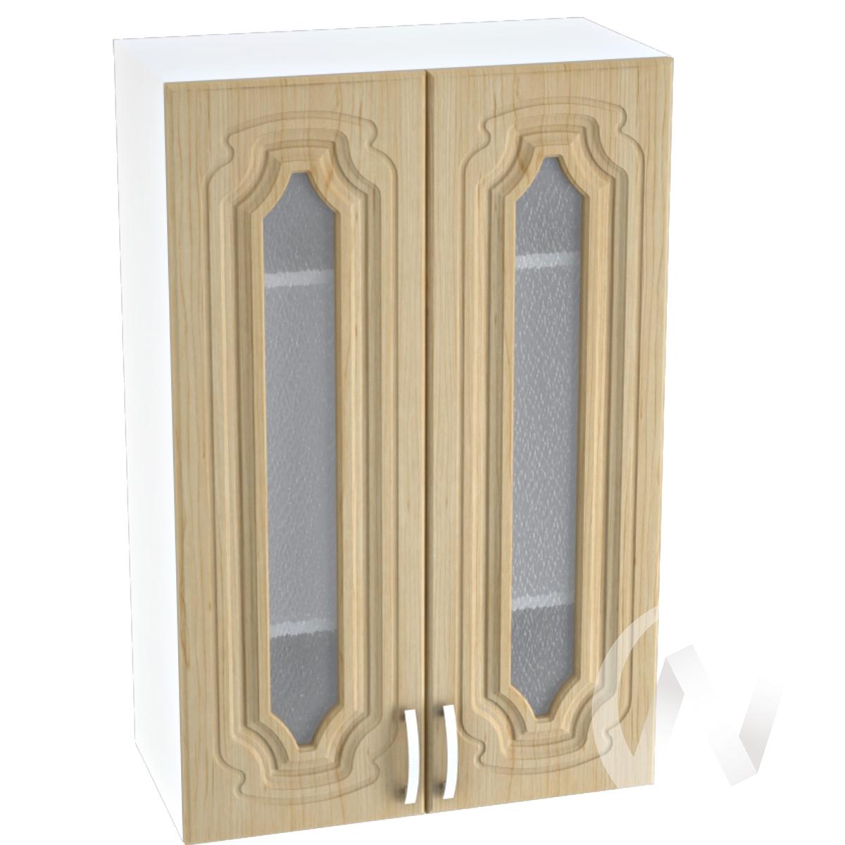 """Кухня """"Настя"""": Шкаф верхний со стеклом 609, ШВС 609 (Береза/корпус белый)"""