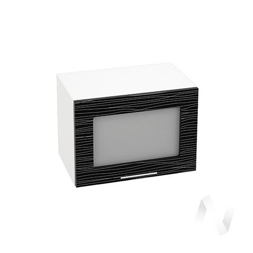 """Кухня """"Валерия-М"""": Шкаф верхний горизонтальный со стеклом 500, ШВГС 500 (Страйп черный/корпус белый) в Новосибирске в интернет-магазине мебели kuhnya54.ru"""