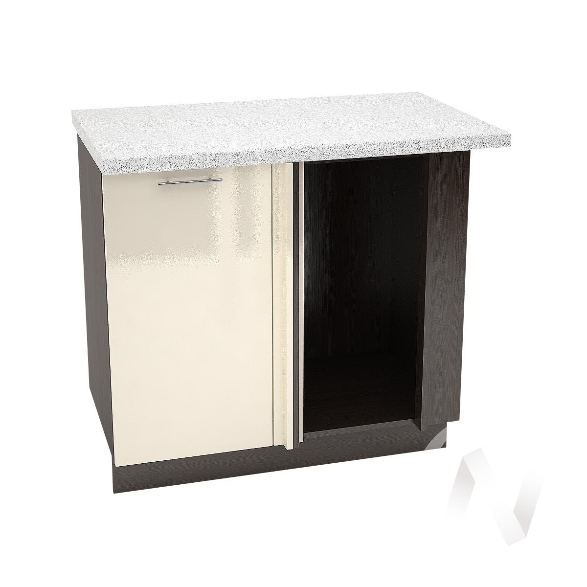 """Кухня """"Валерия-М"""": Шкаф нижний угловой 990М, ШНУ 990М (Ваниль глянец/корпус венге)"""