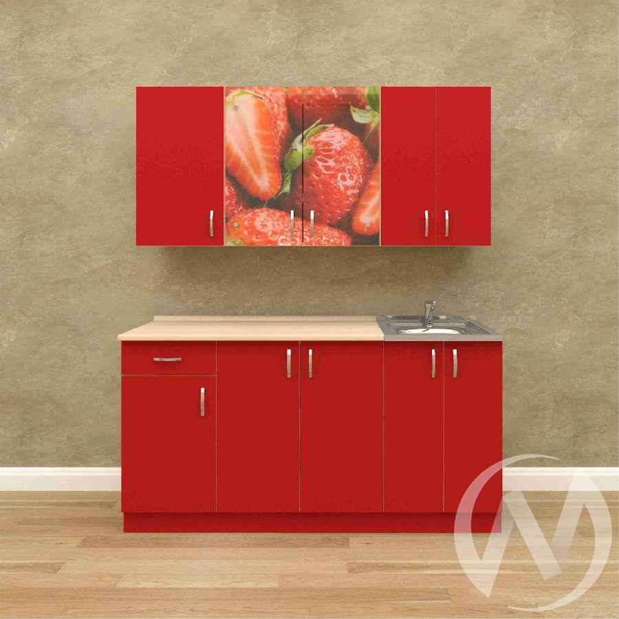 Кухня Виктория 1,6 м (белый/красный)