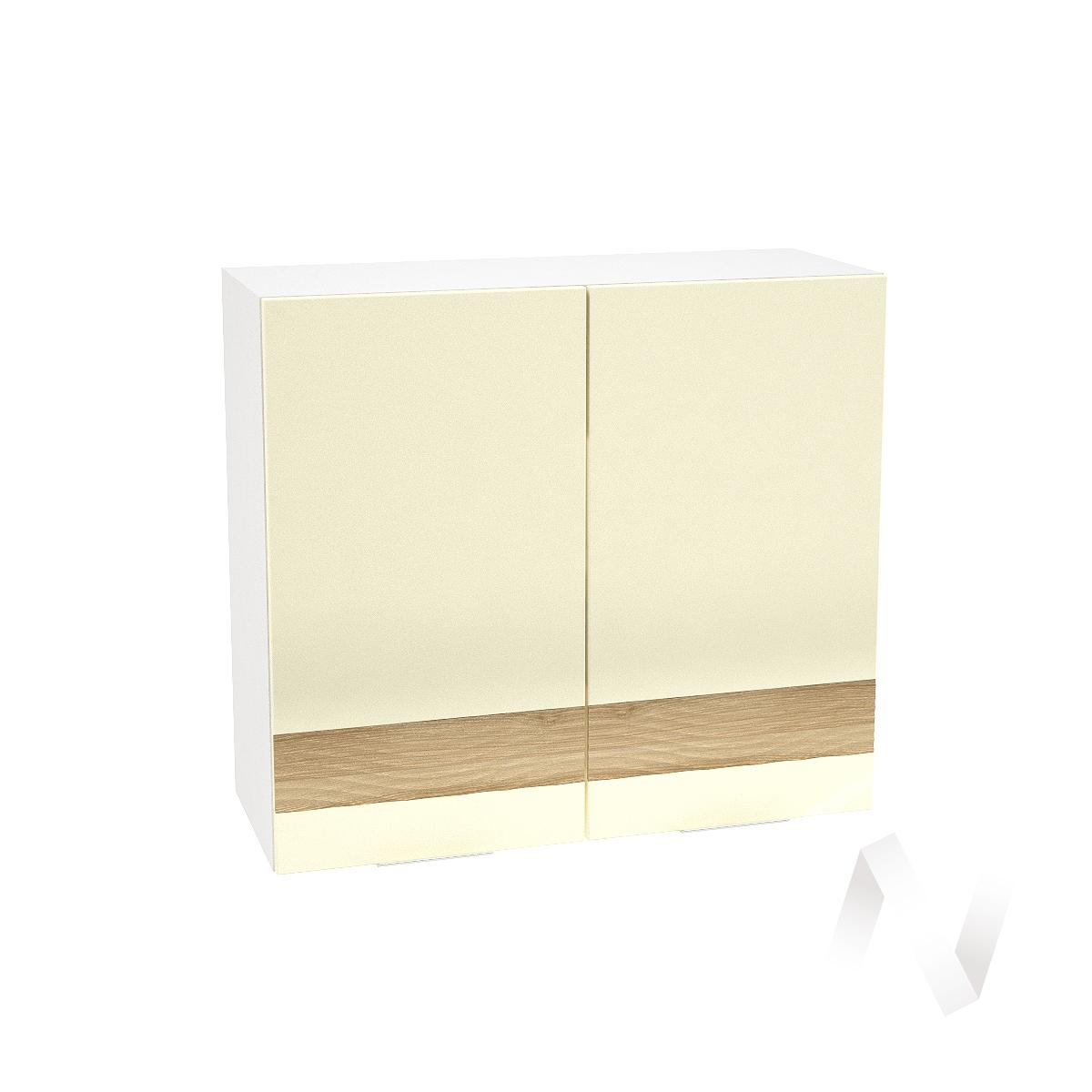 """Кухня """"Терра"""": Шкаф верхний 800, ШВ 800 (ваниль софт/ель карпатская/корпус белый)"""