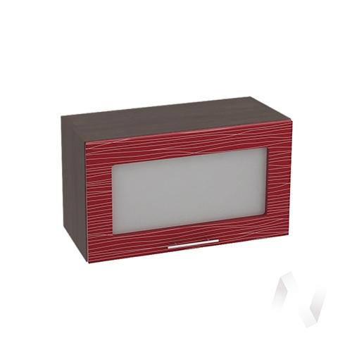 """Кухня """"Валерия-М"""": Шкаф верхний горизонтальный со стеклом 600, ШВГС 600 (Страйп красн./корпус венге)"""