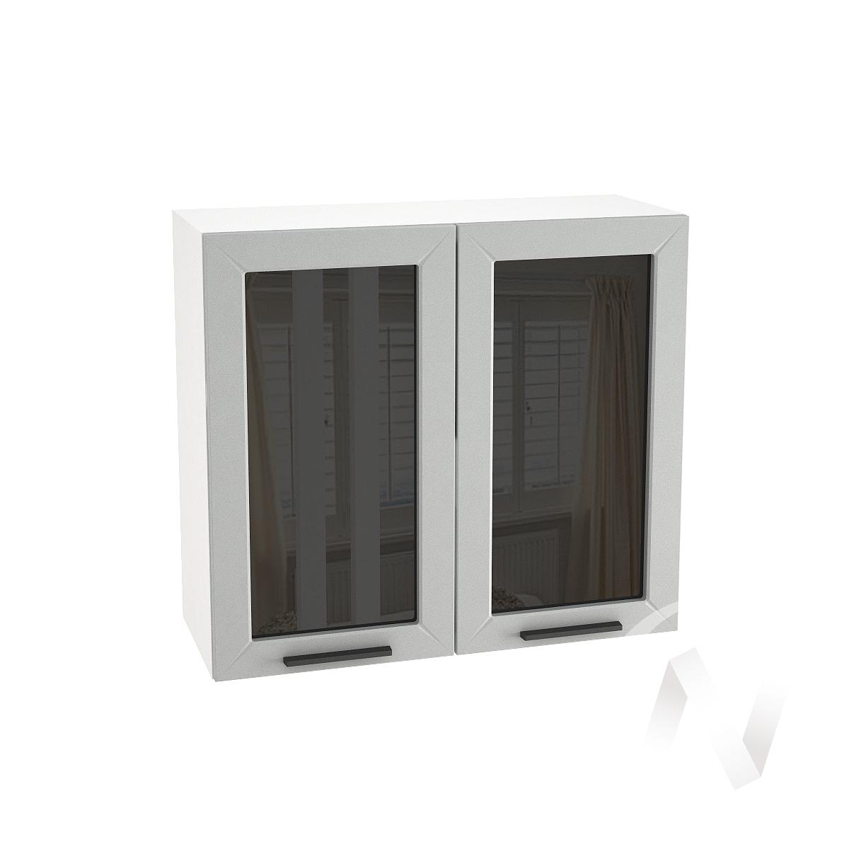 """Кухня """"Глетчер"""": Шкаф верхний со стеклом 800, ШВС 800 (Гейнсборо Силк/корпус белый)"""