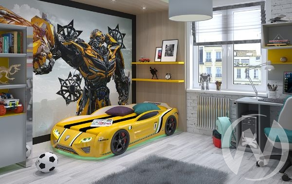 Кровать SportLine (желтый) с подсветкой