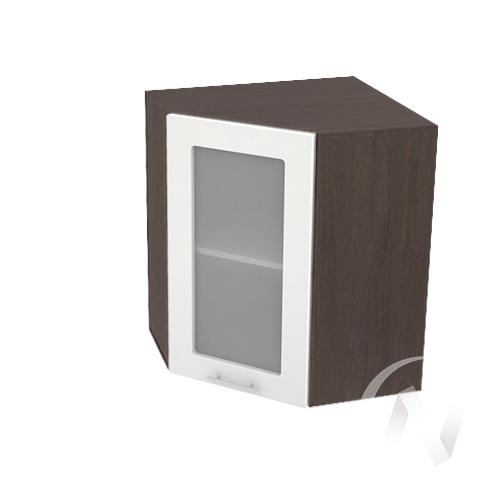 """Кухня """"Валерия-М"""": Шкаф верхний угловой со стеклом 590, ШВУС 590 (белый глянец/корпус венге)"""
