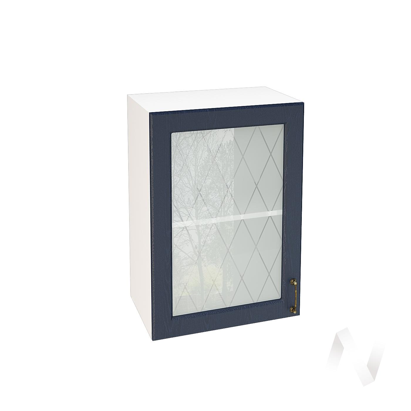 """Кухня """"Ницца"""": Шкаф верхний со стеклом 500, ШВС 500 (Дуб чернильный/корпус белый)"""