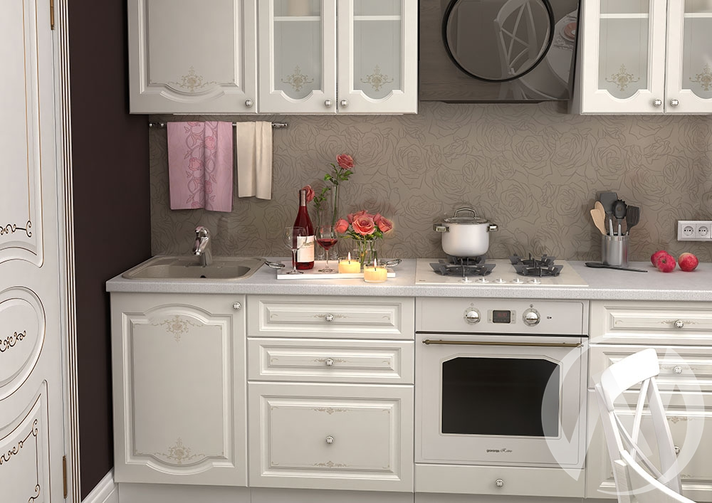 """Кухня """"Шарлиз"""" (корпус белый) в Новосибирске в интернет-магазине мебели kuhnya54.ru"""