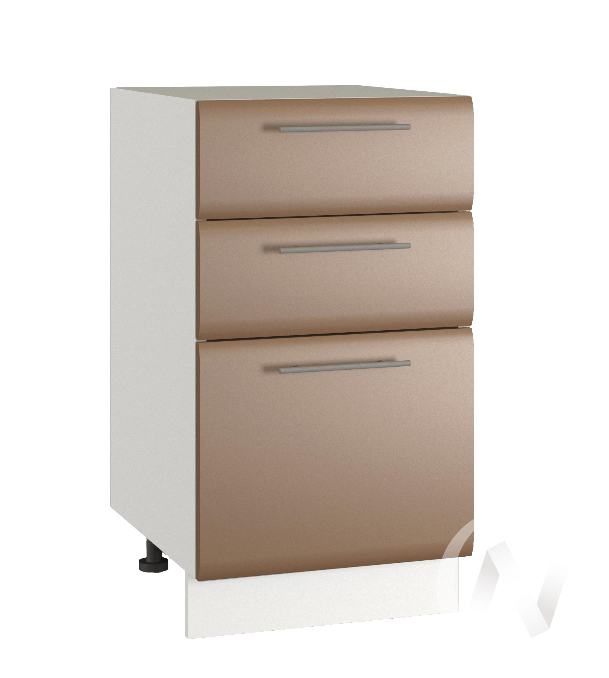 """Кухня """"Люкс"""": Шкаф нижний с 3-мя ящиками 400, ШН3Я 400 (Шоколад матовый/корпус белый)"""