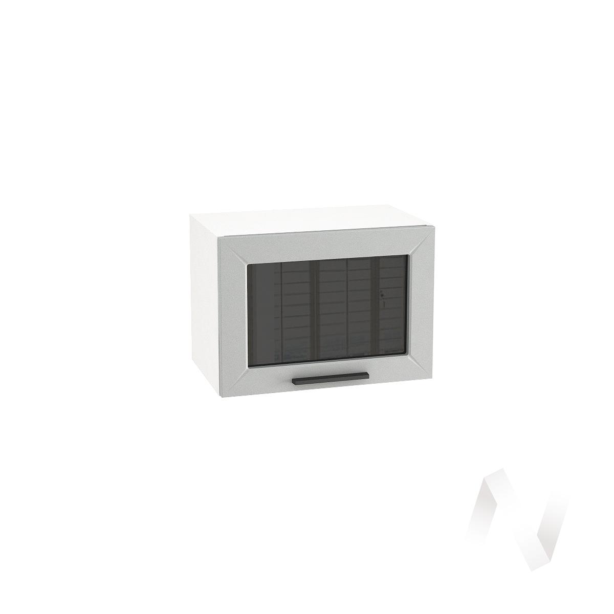 """Кухня """"Глетчер"""": Шкаф верхний горизонтальный со стеклом 500, ШВГС 500 (Гейнсборо силк/корпус белый)"""