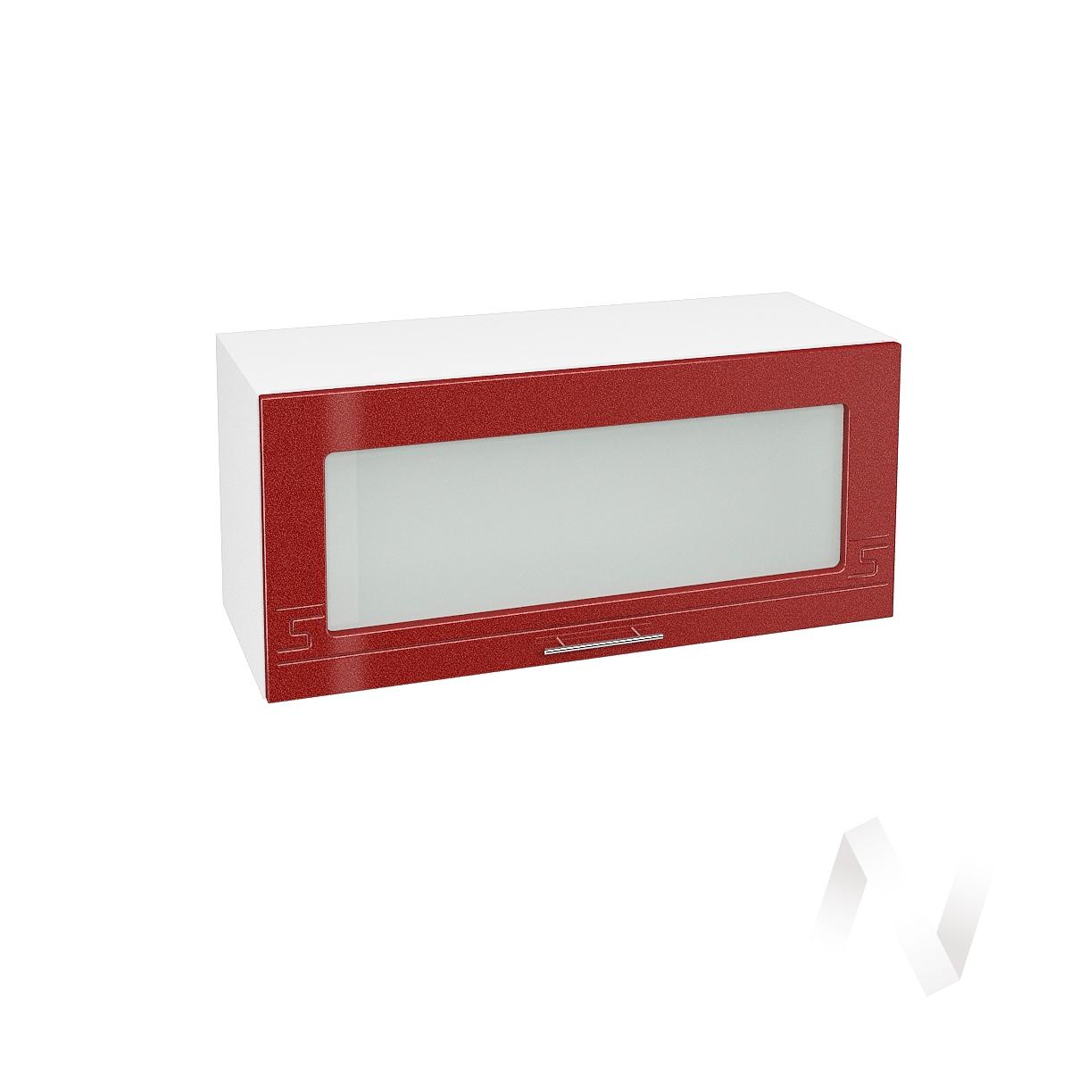 """Кухня """"Греция"""": Шкаф верхний горизонтальный со стеклом 800, ШВГС 800 (гранат. металлик/корпус белый)"""