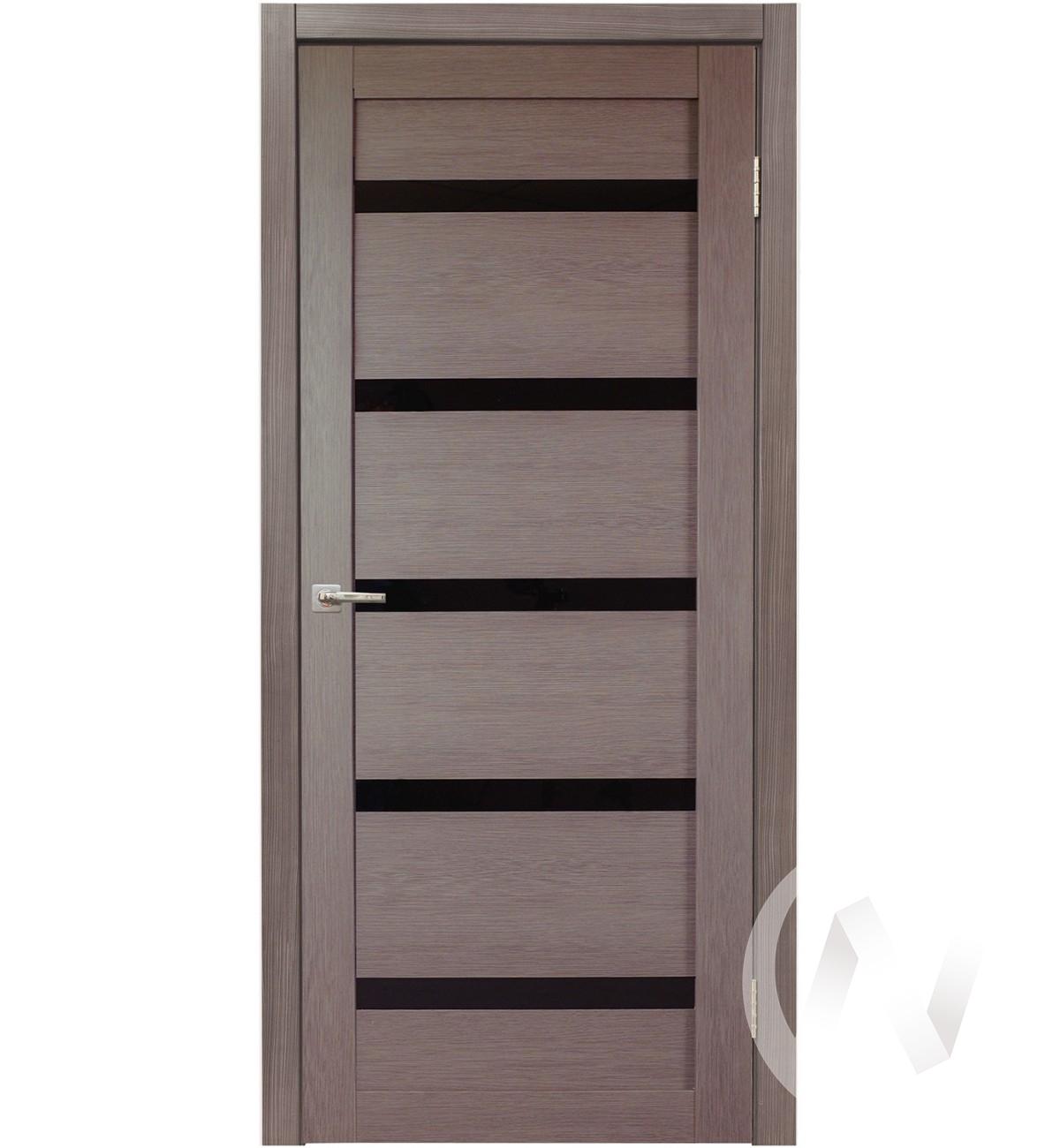 Дверь царговая серия Стиль-5, 60, ост, дуб серый, стекло черное