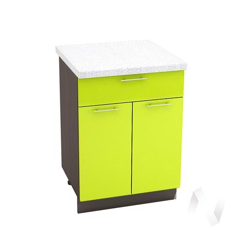 """Кухня """"Валерия-М"""": Шкаф нижний с ящиком 600, ШН1Я 600 М (лайм глянец/корпус венге)"""