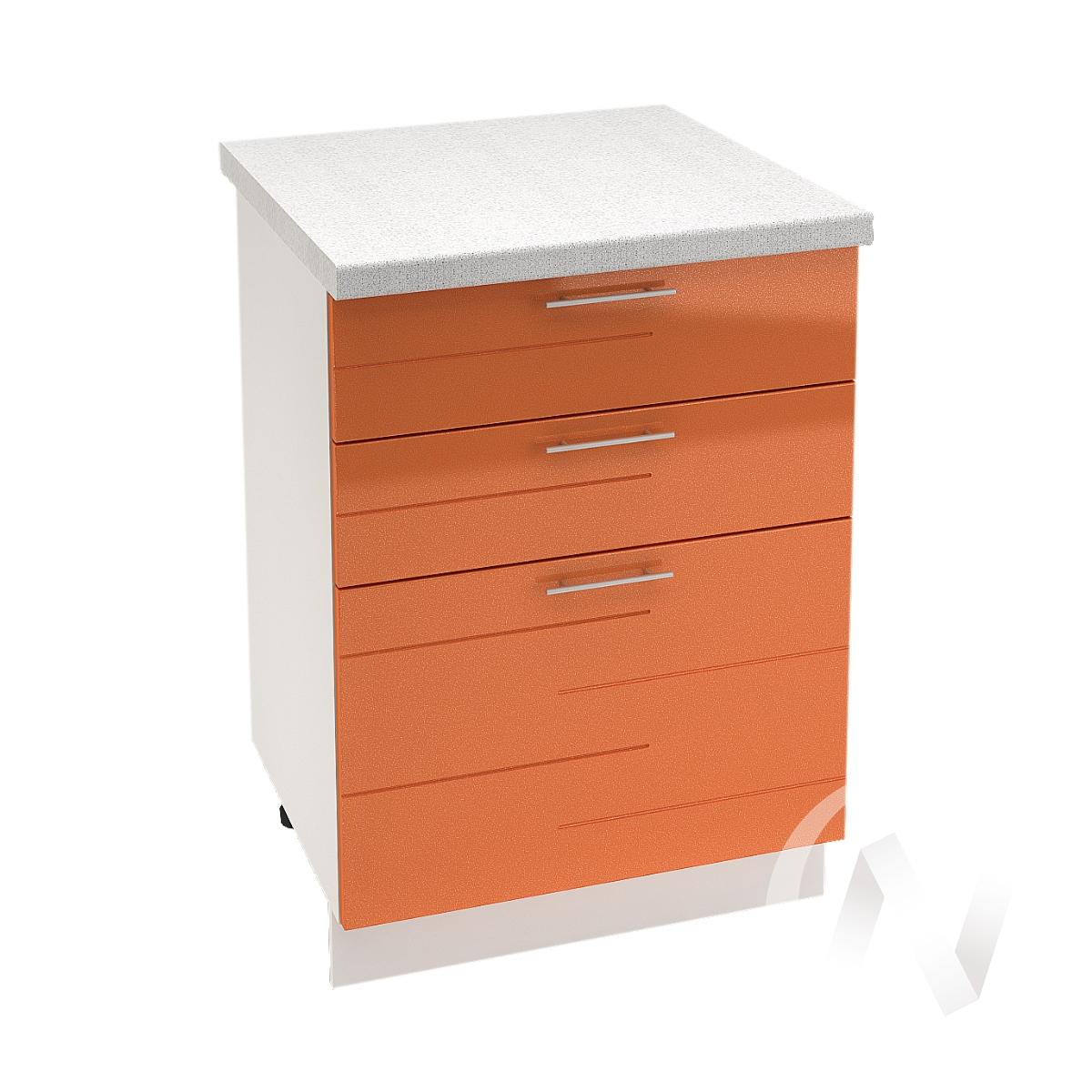 """Кухня """"Техно"""": Шкаф нижний с 3-мя ящиками 600, ШН3Я 600 (корпус белый)"""