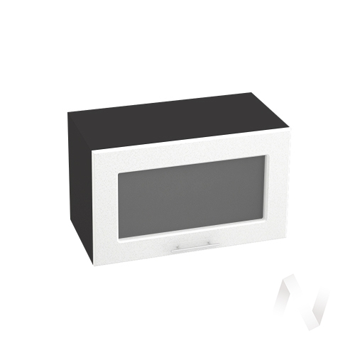 """Кухня """"Вега"""": Шкаф верхний горизонтальный со стеклом 600, ШВГС 600 (белый металлик/корпус венге)"""
