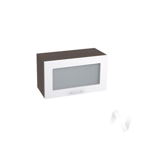 """Кухня """"Валерия-М"""": Шкаф верхний горизонтальный со стеклом 600, ШВГС 600 (бел. металлик/корпус венге)"""