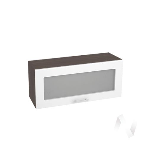 """Кухня """"Валерия-М"""": Шкаф верхний горизонтальный со стеклом 800, ШВГС 800 (белый глянец/корпус венге)"""