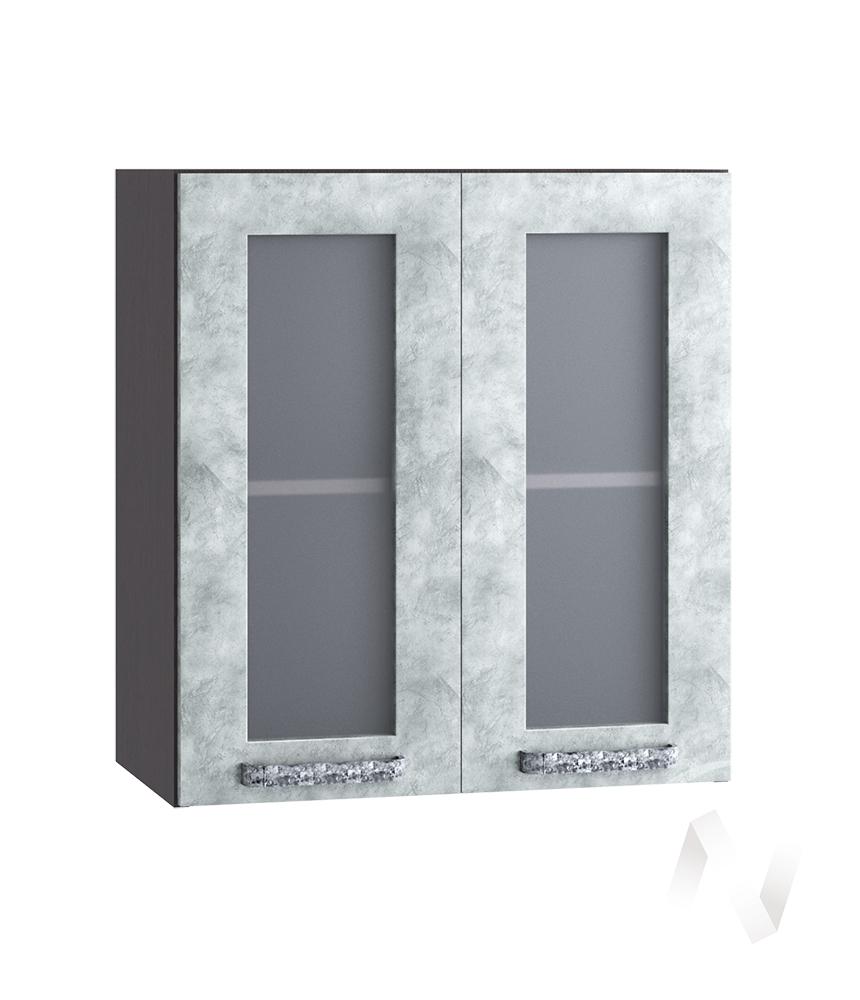 "Кухня ""Лофт"": Шкаф верхний со стеклом 600, ШВС 600 (Бетон серый/корпус венге)"