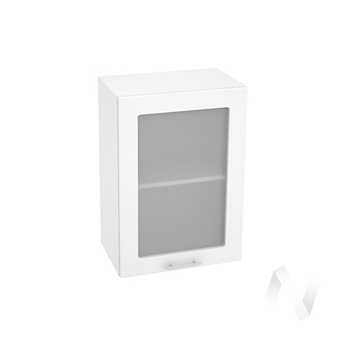 "Кухня ""Валерия-М"": Шкаф верхний со стеклом 500, ШВС 500 (белый металлик/корпус белый)"