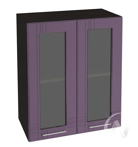 """Кухня """"Струна"""": Шкаф верхний со стеклом 800, ШВС 800 (фиолетовый металлик/корпус венге)"""