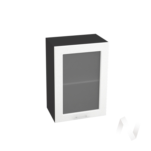 "Кухня ""Вега"": Шкаф верхний со стеклом 500, ШВС 500 (белый металлик/корпус венге)"