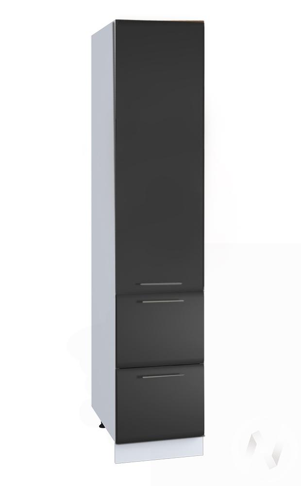 """Кухня """"Люкс"""": Шкаф пенал с 2-мя ящиками 400, ШП2Я 400 (Шелк венге/корпус белый)"""