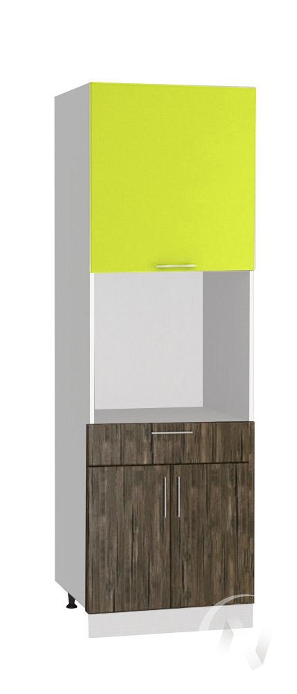 """Кухня """"Норден"""": Шкаф пенал с ящиком 600, ШП1Я 600 (старое дерево/лайм глянец/корпус белый)"""