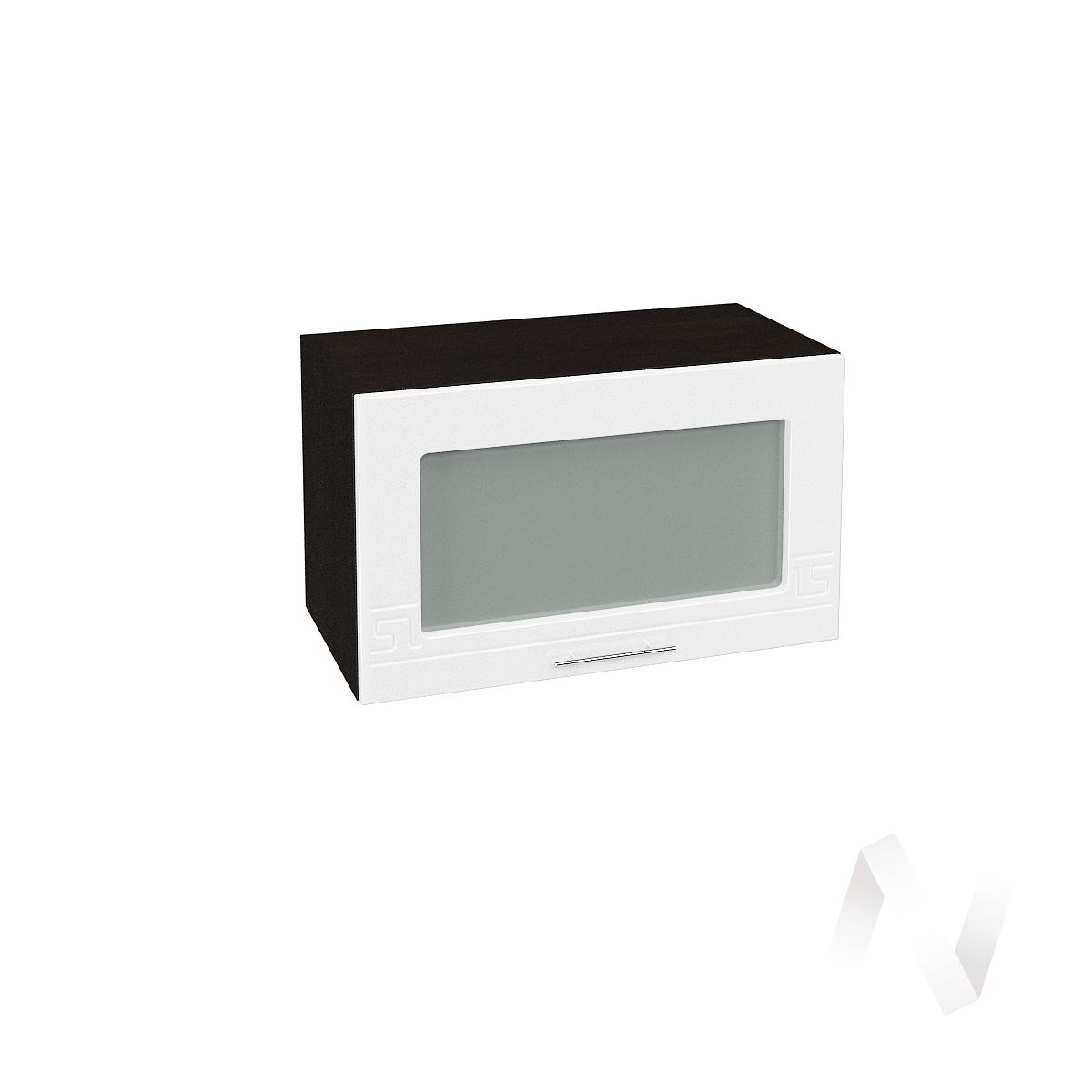 """Кухня """"Греция"""": Шкаф верхний горизонтальный со стеклом 600, ШВГС 600 (белый металлик/корпус венге)"""