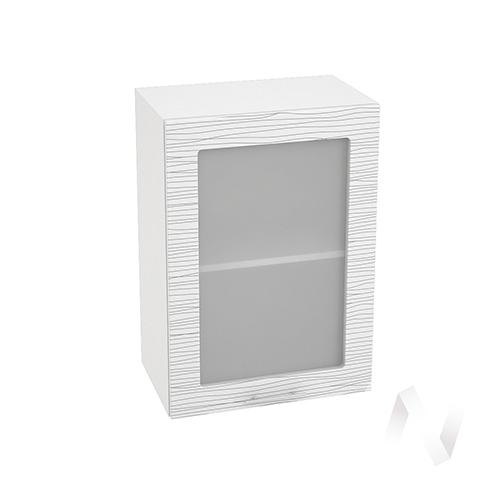 """Кухня """"Валерия-М"""": Шкаф верхний со стеклом 500, ШВС 500 (Страйп белый/корпус белый) в Новосибирске в интернет-магазине мебели kuhnya54.ru"""