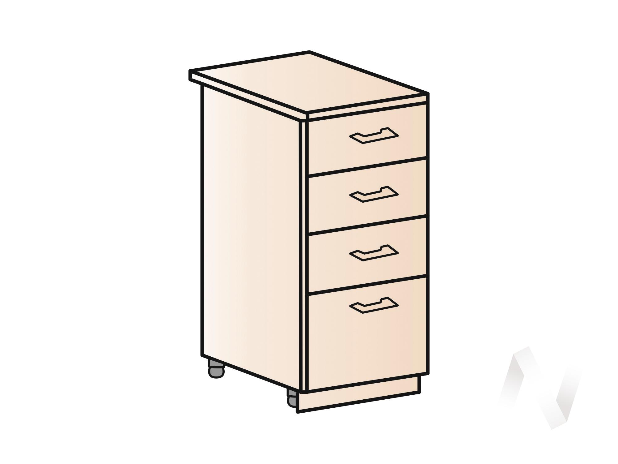 """Кухня """"Люкс"""": Шкаф нижний с 4-мя ящиками 400, ШН4Я 400 (Шелк жемчуг/корпус венге) в Томске — авторская мебель Экостиль"""