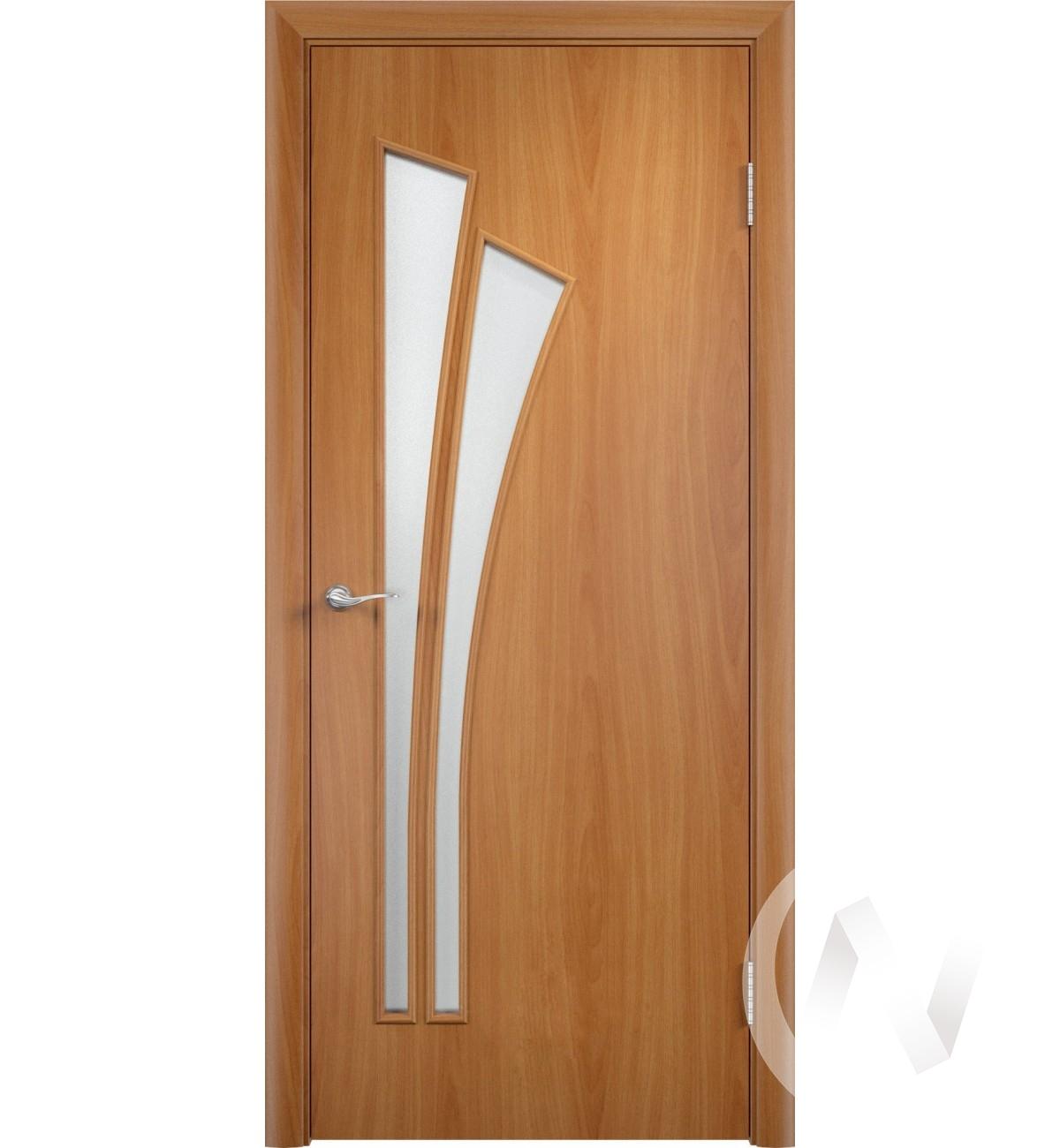 """Дверь ламинированная Тип """"Лагуна"""", 60, ост, миланский орех, стекло матовое"""
