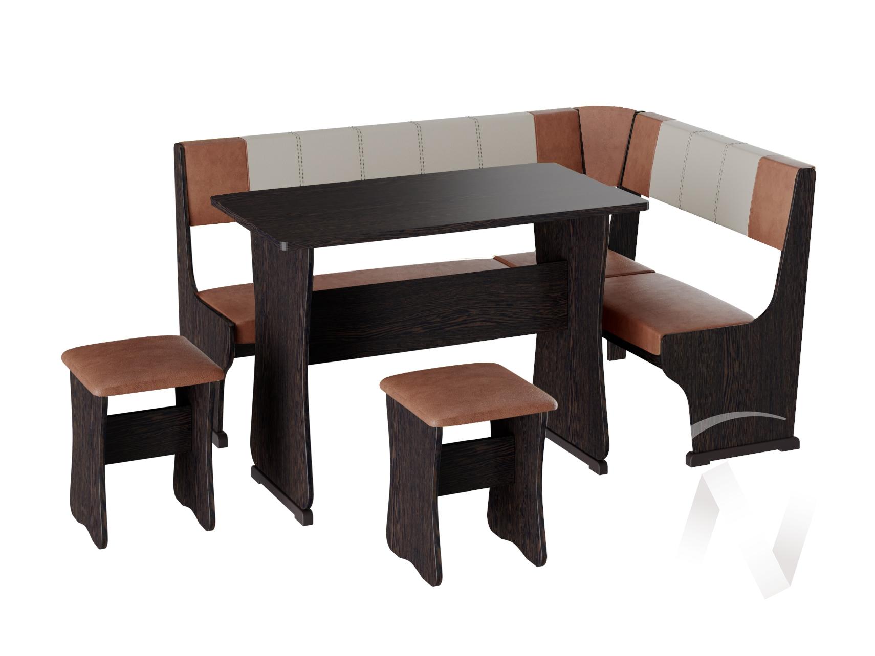 Кухонный уголок Гамма тип 1 кожзам (венге/рыжий,бежевый)  в Томске — интернет магазин МИРА-мебель