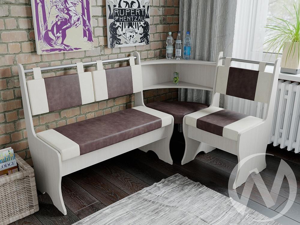 Кухонный уголок Дельта дуб/беж+гольф коричневый
