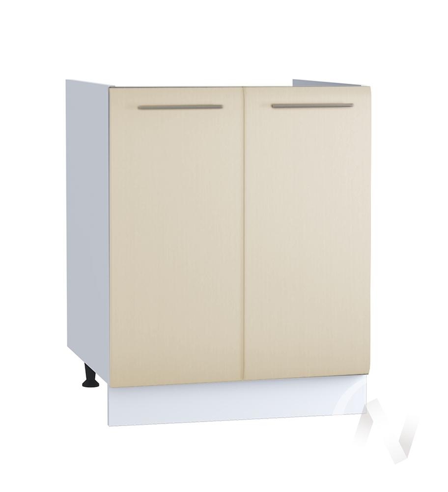 "Кухня ""Люкс"": Шкаф нижний под мойку 600, ШНМ 600 (Шелк жемчуг/корпус белый)"
