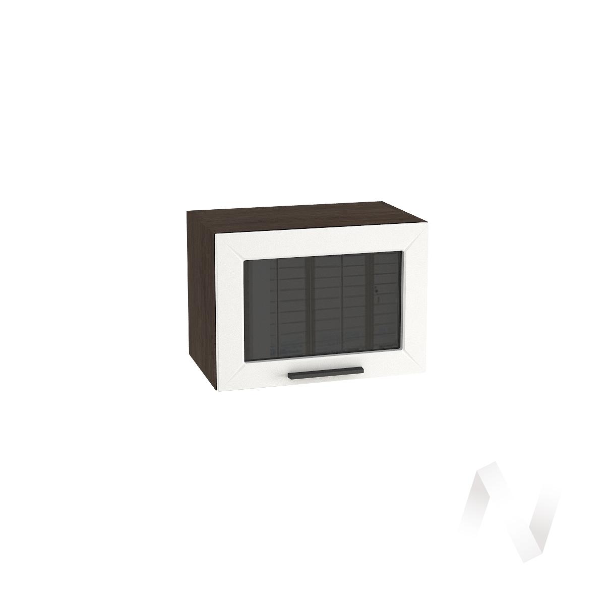 """Кухня """"Глетчер"""": Шкаф верхний горизонтальный со стеклом 500, ШВГС 500 (Айленд силк/корпус венге)"""