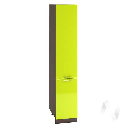 """Кухня """"Валерия-М"""": Шкаф пенал 400, ШП 400 (лайм глянец/корпус венге)"""