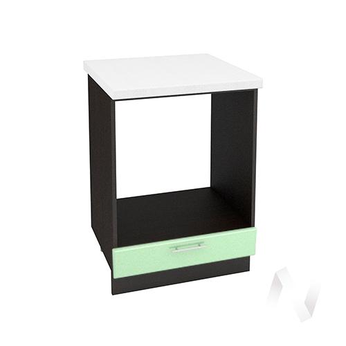 """Кухня """"Вега"""": Шкаф нижний под духовку 600, ШНД 600 (салатовый металлик/корпус венге)"""