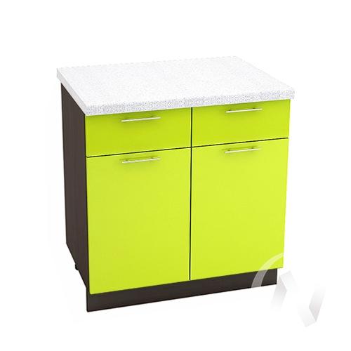 """Кухня """"Валерия-М"""": Шкаф нижний с ящиками 800, ШН1Я 800 (лайм глянец/корпус венге)"""