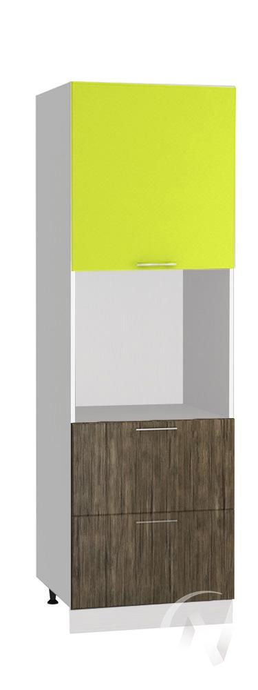 """Кухня """"Норден"""": Шкаф пенал с 2-мя ящиками 600, ШП2Я 600 (старое дерево/лайм глянец/корпус белый)"""