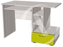 Глобус 1 стол компьютерный (ясень шимо светлый/лайм)  в Томске — интернет магазин МИРА-мебель