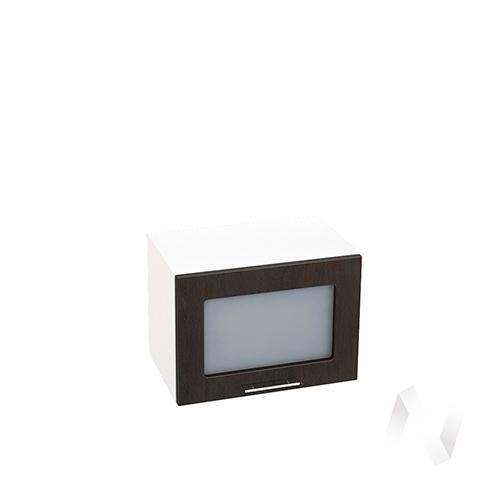"""Кухня """"Валерия-М"""": Шкаф верхний горизонтальный со стеклом 500, ШВГС 500 (венге/корпус белый)"""